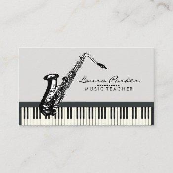 saxophone music teacher piano keyboard musician business card
