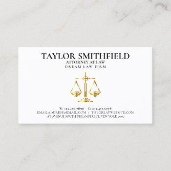 scales of justice gold lawyer attorney business card