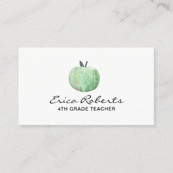 school teacher stylish green apple business card