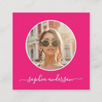 script modern chic photo hot pink social media calling card