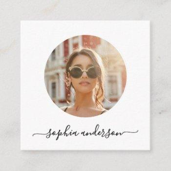script modern minimal simple photo social media calling card