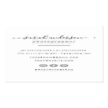 Small Script Modern Typography Photographer Business Card Back View