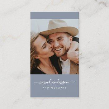 script modern typography photographer dusty blue business card