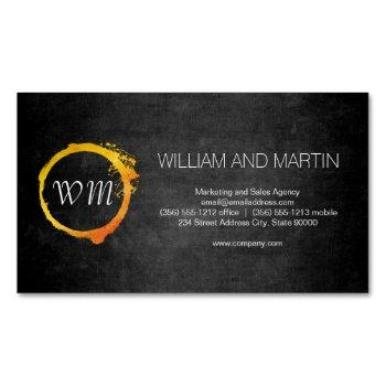 script monogram business card magnet