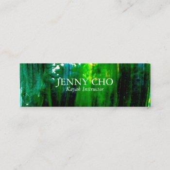 sea green bold paint stripe mini business card