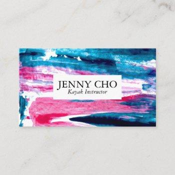 sea green teal blue and pink paint stripe business card