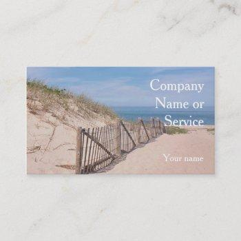seashore scene with beach fence and sand dune business card