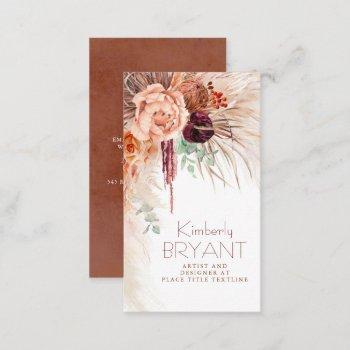 seaside pampas grass and terracotta flowers boho business card