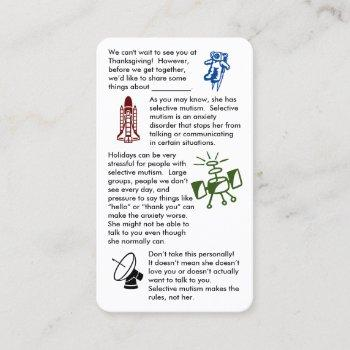 selective mutism get together girl business card