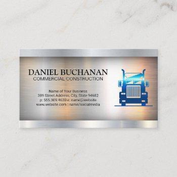 semi truck | metallic industrial background business card
