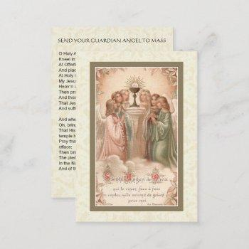 send your guardian angel to mass holy card