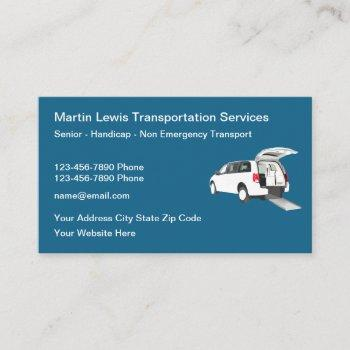 senior handicap non emergency transport business card