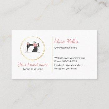 sewing machine business card watercolor black pink