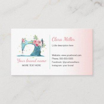 sewing machine business card watercolor teal pink