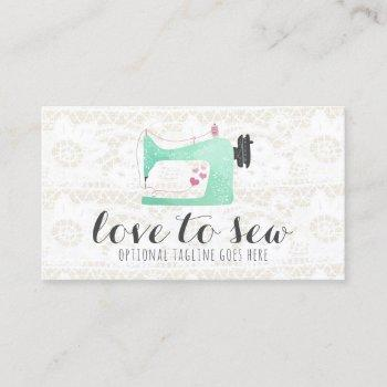 sewing machine on shabby chic lace & burlap business card