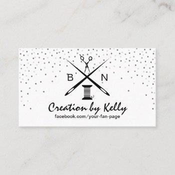sewing seamstress dressmaker modern confetti business card