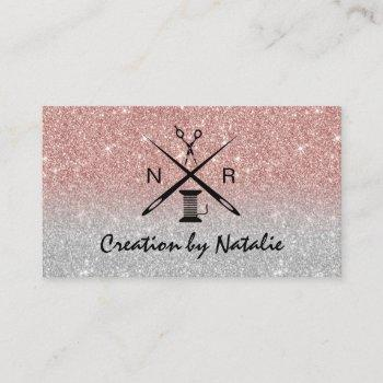 sewing seamstress dressmaker rose gold glitter business card