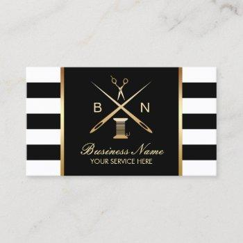 sewing seamstress gold thread & needles modern business card