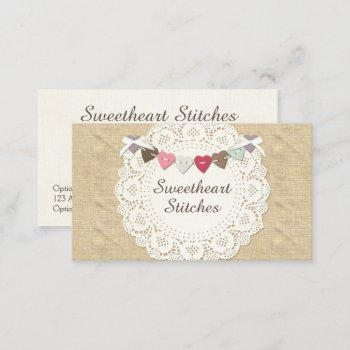 sewing stitches on rustic country burlap & hearts business card
