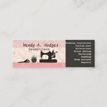 sewing  thread vintage machine mannequin pink mini business card
