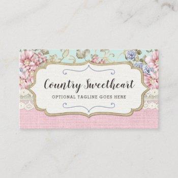 shabby chic pink floral vintage farmhouse boutique business card
