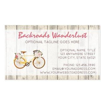 Small Shabby Chic Vintage Bicycle On Rustic Wood Custom Business Card Back View