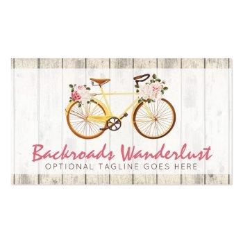 Small Shabby Chic Vintage Bicycle On Rustic Wood Custom Business Card Front View