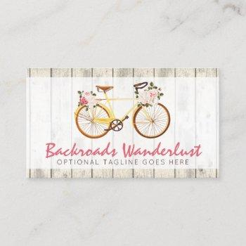 shabby chic vintage bicycle on rustic wood custom business card