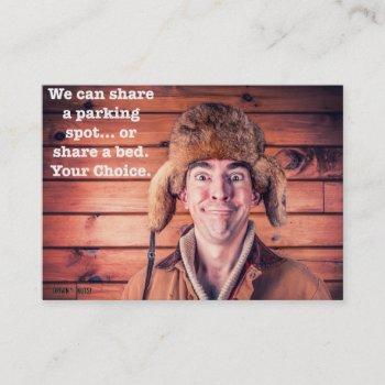 share a parking spot or share a bed-your decision business card