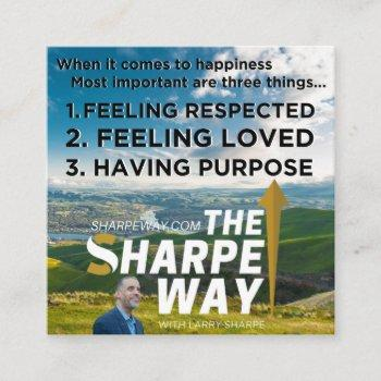 sharpe way pursuit of happiness leave behind cards