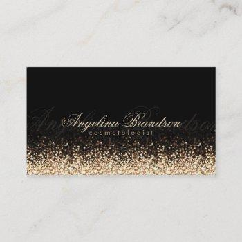 shimmering gold cosmetologist damask black card
