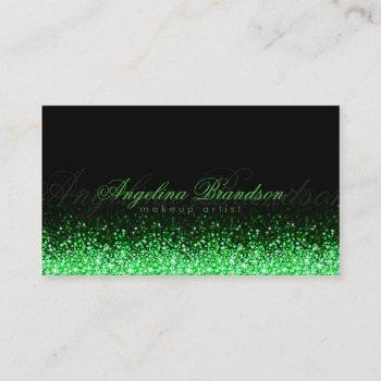 shimmering green makeup artist damask black card