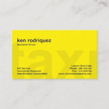 shocking bright yellow bold letters taxi service business card