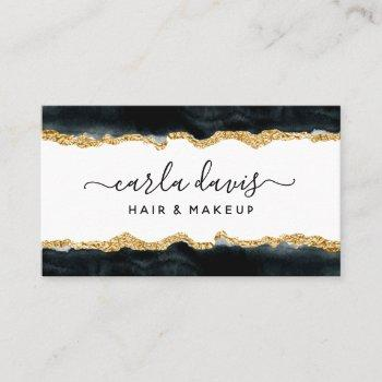 signature script black and gold watercolor business card