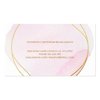 Small Signature Script Blush Pink Watercolor Gold Circle Business Card Back View