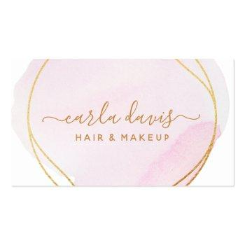 Small Signature Script Blush Pink Watercolor Gold Circle Business Card Front View