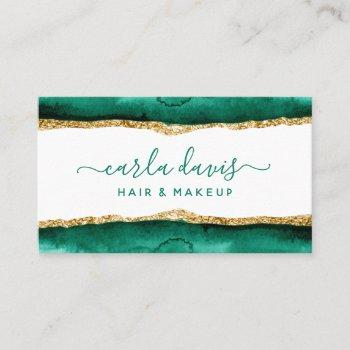 signature script emerald green and gold watercolor business card