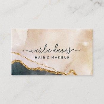 signature script watercolor pink black gold marble business card