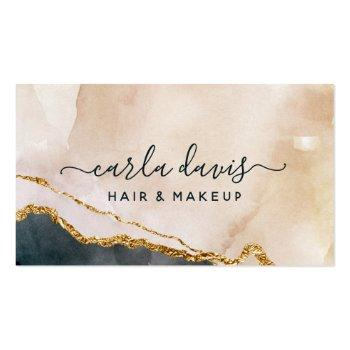 Small Signature Script Watercolor Pink Black Gold Marble Business Card Front View