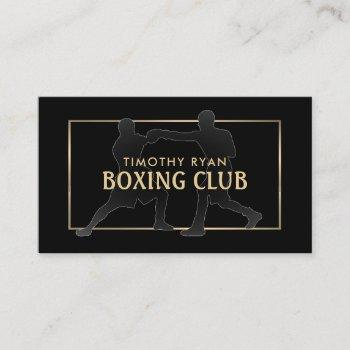 silhouette boxing match, boxer, boxing trainer business card