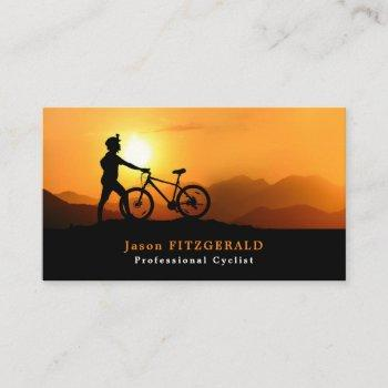silhouette of cyclist, cycling, bicyclist business card