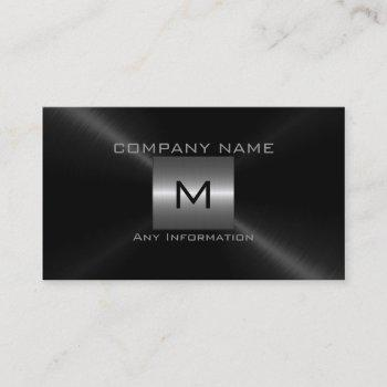 silver and black stainless steel metal business card