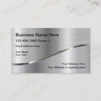 silver background construction service business card