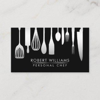 silver black chef kitchen tools glitter faux business card
