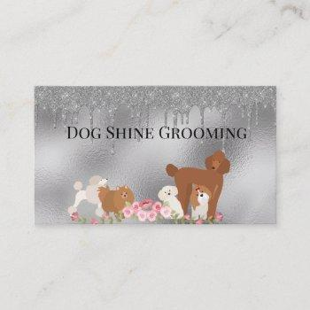 silver dog grooming glitter pet services business card