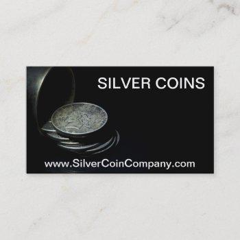 silver dollar coin business card template