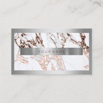 silver frame metal stone gray marble rose copper business card