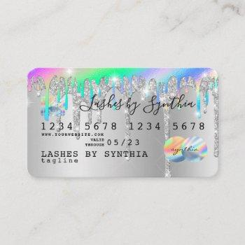 silver glitter drips credit card hologram add name