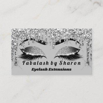 silver glitter  makeup artist lashes princess gray business card