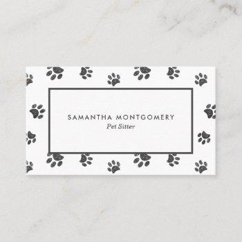 silver glitter paw prints professional pet sitter business card